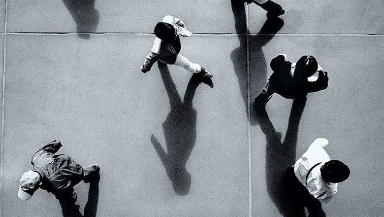 aerial shot of people walking around below